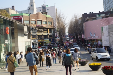Cafes and shops leading to the university