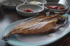 Unexpected was this hefty slab of grilled mackerel which came with the rice! We ingested it all of course